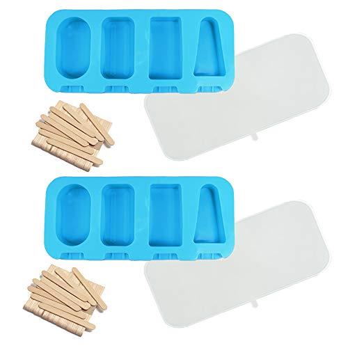 N\O Silikon-Form für 4 EIS am Stiel, 2 Eisformen Glaceformen mit 100 Holzstielen und 2 Deckel, Wiederverwendbare Popsicle Formen Klassische Form EIS am Stiel (Blau)