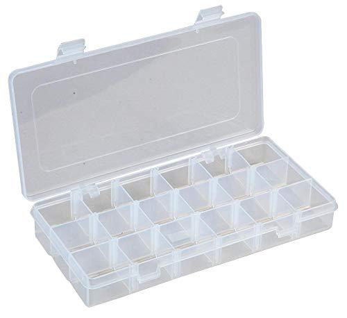 Boîte de rangement transparente 6-18 compartiments avec sections amovibles 35 mm x 125 mm x 230 mm