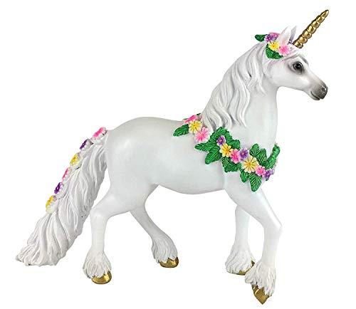 Genevive la Licorne Dorée pour votre jardin de fées enchanté. Un accessoire de jardin de fées de 16,51 cm de haut par GlitZGlam