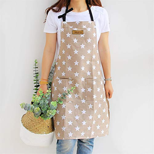 Lindong Tablier de cuisine avec poche en coton et lin, motif étoilé, pour femme, pour cuisiner ou pâtisser beige