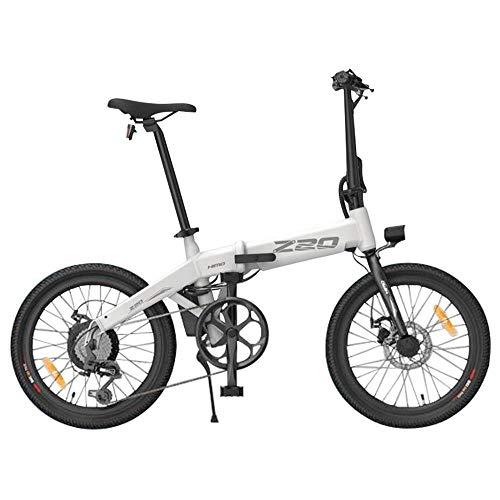 HIMO Z20 Bicicletta elettrica pieghevole per adulti, mountain bike, bici elettrica da 20 pollici E-bike per pendolari con motore 250 W, batteria 10 Ah, ammortizzatore, cambio a 6 velocità (bianca)