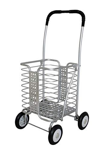 ショッピングカート アルミワゴン キャリーカート アルミワイヤーカート キャリー シルバーカー