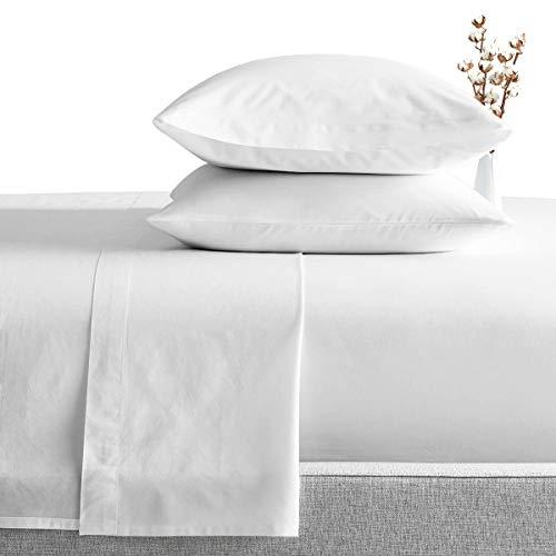 Jogo de cama de algodão egípcio 1000 fios SGI Jogo de cama 4 peças sólido, Moderno, Branco, California King