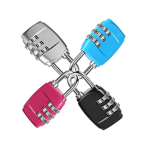 Luggage Locks, (4 Pack) 3 Digit Combination Padlock Codes with Alloy Body for Travel Bag, Suit Case, Lockers, Gym, Bike Locks - Black, Blue, Pink, and Silver