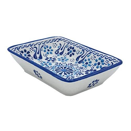 ottoman Seifenschale Sahin Blau-Weiß handbemalt