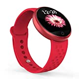 HKPLDE Pantalla táctil Smartwatch/Bluetooth Pulsómetro Calorías Monitor de sueño Modos Deportes Mujer para Android e iOS -Rojo