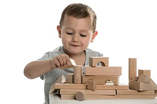 CreaBLOCKS Holzbausteine Grundausstattung (120 unbehandelte Bauklötze) (ohne Aufbewahrung) Made in Germany
