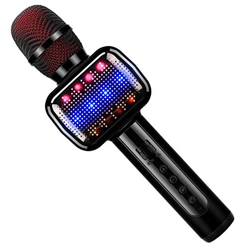 Leeron Karaoke Microphone, Microphone for Kids Wireless Bluetooth Portable Handheld Karaoke Machine for Party Home Birthday and Toys for Boys Girls Age 12 15(Black)