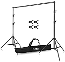 UTEBIT 1.5x2m/ 5x7ft Backdrop Stand with Muslin Clamps 4 Pack Adjustable Aluminum Alloy Background Frame Support System Kit Assemble 2 x2M Tripod + 1.5M Crossbar for Photography Backdrops Screen