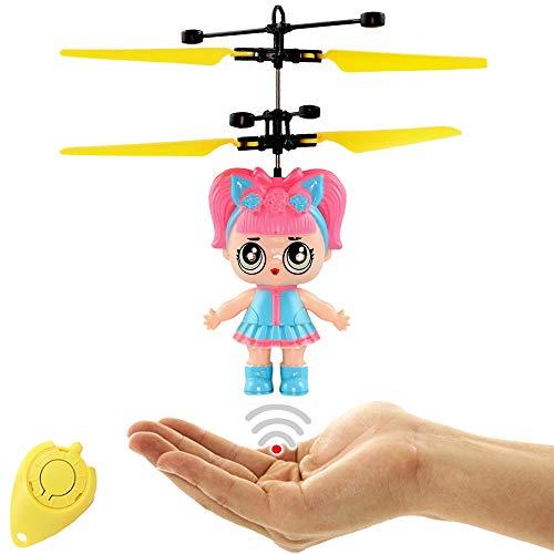 Freaky LoLa Cute Surprise Puppe (Rosa) RC Fliegende Puppe mit Hellen LED Augen - Einfach per Handbewegung steuerbar Tolles Geschenk für Mädchen Fliegende Fee Drohne für Mädchen
