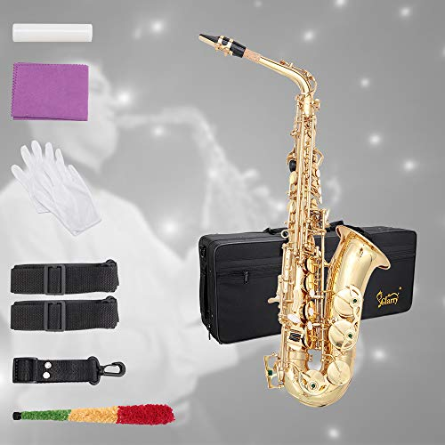 Glarry Student Alto Eb E-flat SAX Saxophone Gold Lacquer SAX Beginners Kit with Case, Reeds, Mouth Piece, Soft Cleaning Cloth and Rod, Gloves