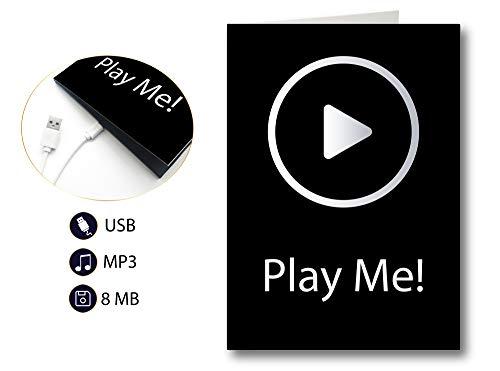 PlayMegram Sound-Grußkarte mit USB Anschluss und 8 MB Speicher, Audiogrußkarte mit Kompaktlautsprecher, Geburtstagskarte, Musikkarte
