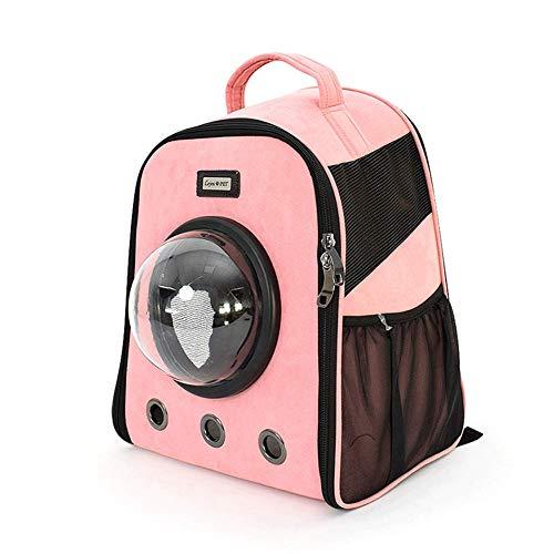 GBY Huisdierrugzak, transparante tas, draagbare huisdierrugzak, suède schoudertas roze geel grijs, kan 7,5 kg dragen, 33,5 × 25x41 cm, size, roze