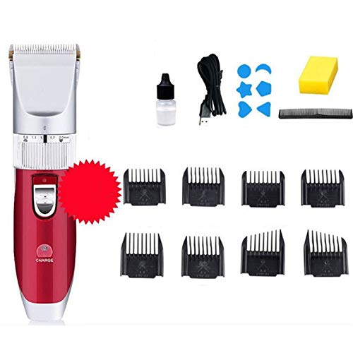 USB Recarga Caldhead Head House Clipper Electric Trimmer Trimmer Shaver Trimmer Hombres Barber Cutter Cutter Machine para Hombres Bebé (Color : Red)