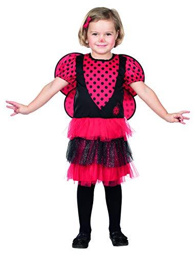 Halloweenia – Disfraz de mariquita para niña con vestido y alas, perfecto para carnaval y Halloween, color rojo