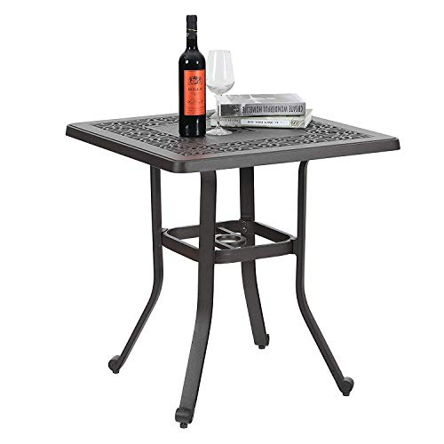 PHI VILLA Outdoor Balcony Garden Furniture Patio Bistro Coffee Table 27.5' Square Cast Aluminum with Umbrella Hole, Frosted Surface