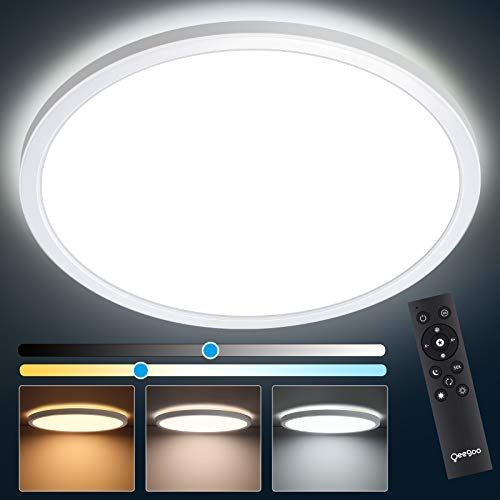 Oeegoo 12Inch 24W Dimmable LED Flush Mount Ceiling Light Fixture with Remote Control, Slim Modern Surface Mount Round Lighting Fixture for Bedroom Kitchen Closet Room, 3000k-6500k Color Temperature
