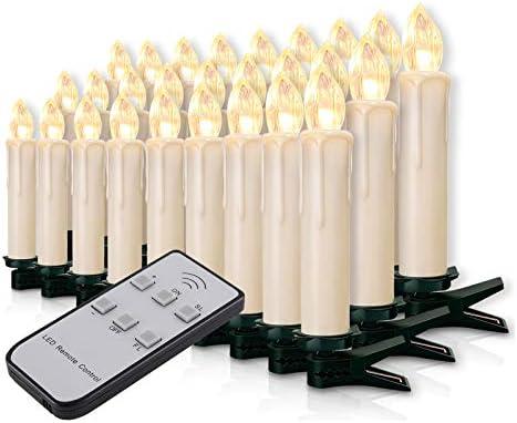 Miafamily Lot de 30 bougies LED sans fil pour sapin de No/ël avec t/él/écommande sans fil Blanc laiteux