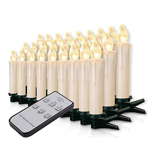 20-60er Weinachten LED Kerzen Weihnachtsbeleuchtung Lichterkette Kerzen kabellos Weihnachtskerzen Weihnachtsbaum Kerzen mit Fernbedienung kabellos Baumkerzen(milchweisse Hülle, 40er)
