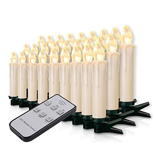 Miafamily 20-60er Weinachten LED Kerzen Weihnachtsbeleuchtung Lichterkette Kerzen kabellos Weihnachtskerzen Weihnachtsbaum Kerzen mit Fernbedienung kabellos Baumkerzen(milchweisse Hülle,60er)