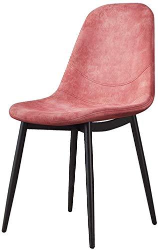 SZHWLKJ Asiento y Respaldo tapizados de Tela de Cocina Sillas con piernas robustas de Metal de Habitaciones,Sala de Estar Comedor (Color : Pink)