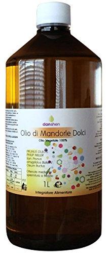 OLIO DI MANDORLE DOLCI BOTTIGLIA DA 1 LT PURO 100% PRESSATO A FREDDO ANCHE USO ALIMENTARE - TAPPO...