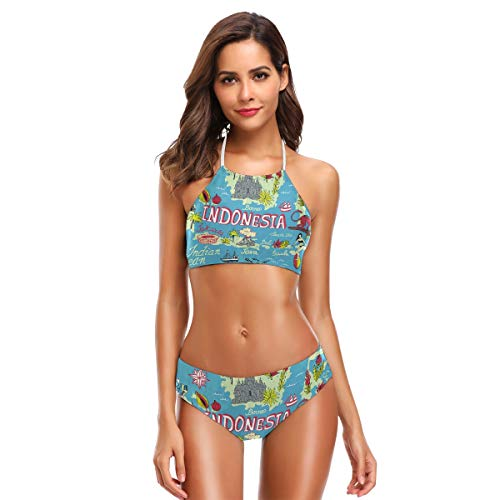 DXG1 Map of Indonesia Damen Cute Bikini Sets Strand Bademode Badeanzug mit Gepolstert Gr. 52, Farbe-1