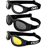 Global Vision 3 Burning Man Motorcycle Goggles That Fold for Easy Storage Clear Smoked Yellow Mirrored Burning Man