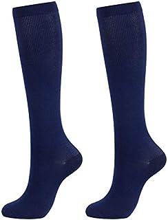 LQW HOME Mujer Calcetines presión de compresión Medias Unisex Color sólido Muslo Altos Calcetines de Nylon Medias largas Calcetines hasta la Rodilla (Color : Navy Blue, tamaño : L XL)