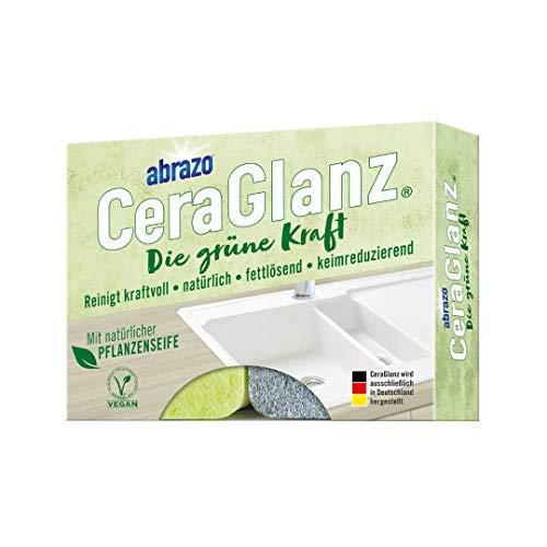 abrazo CeraGlanz Die grüne Kraft 2x, Küchenschwamm nachhaltig, zuverlässiger Küchenreiniger auf natürlicher Basis, Reinigungsschwamm