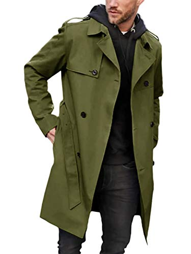 Pretifeel Mens Trench Coat Slim Fit Long Double Breasted Notched Lapel Belt Fall Long Jacket Army Green