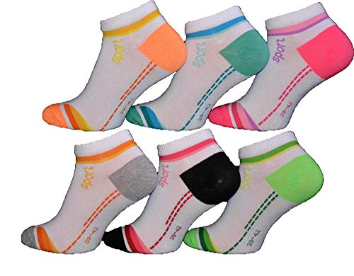 BestSale247 12 Paar modische Damen Mädchen Sneaker Socken Füßlinge Baumwolle 35-38 ; 39-42 (35-38)