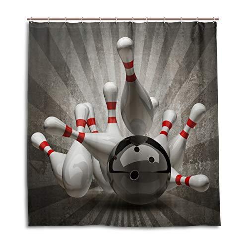 CPYang Duschvorhänge Vintage Sport Bowling Ball Wasserdicht Schimmelresistent Bad Vorhang Badezimmer Home Decor 168 x 182 cm mit 12 Haken