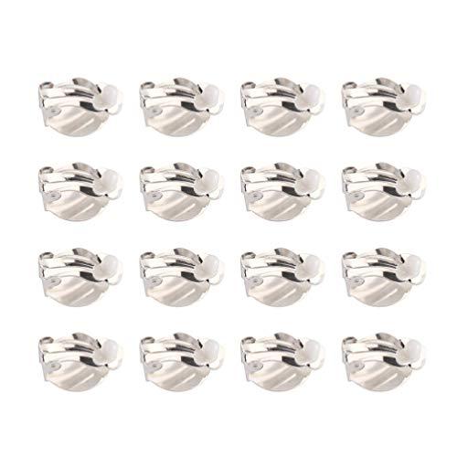 Exceart, 20 supporti posteriori piatti, clip per orecchini a clip su orecchio, convertitore conclusioni pad base per orecchie non forate, componenti di gioielli, 10 mm, oro