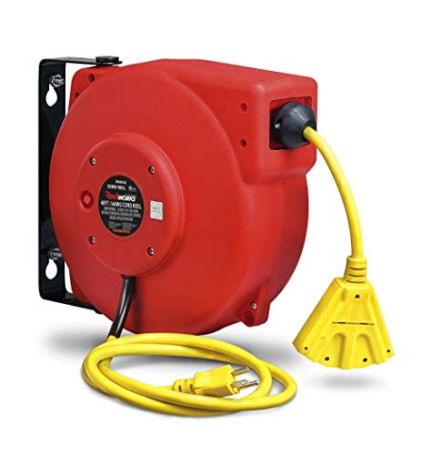 ReelWorks Extension Cord Reel Retractable 14AWG x 40' Foot 3C/SJT Cable Triple Tap Connector Power Rating 13A 125VAC 1625W, CR605132S3A