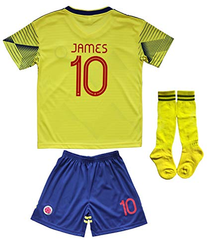 Calze Felpa da Calcio 19-20S Stagione Colombia Home No.10 Maglia James Rodr/íguez No.10 Maglia da Bambino Maglietta Shorts