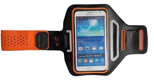 Sport-Armband Oberarm Tasche passend für LG V50 ThinQ / V40 ThinQ / V35 ThinQ / V30S ThinQ Handy Halterung Fitness-Hülle, Tasche mit großem Fach Jogging, Dealbude24 Trendy Groß Orange
