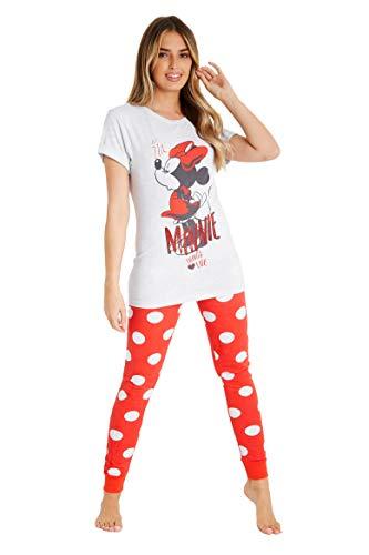 Disney Pijamas Mujer, Pijama Mujer Invierno Minnie Mouse, Conjunto 2 Piezas Camiseta Mujer Manga...