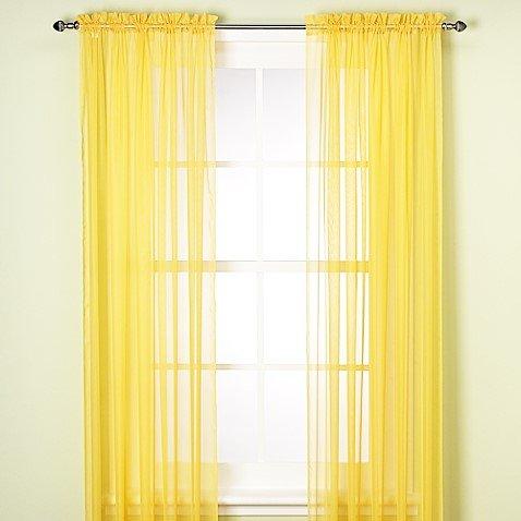 "GorgeousHomeLinenDifferent Solid Colors 2 PC Rod Pocket Sheer Window Curtains Treatment Drape Voile Elegant Panels 55"" Width X 63"" 84"" 95"" Length (63"" Length, Yellow)"