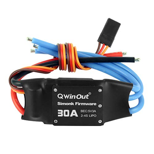 QWinOut 2-4S 30A RC Brushless ESC Simonk Firmware Electric Speed Controller with 5V 3A BEC for 2 to 4s Lipo Battery, DIY Multicopter Quadcopter (1 Pcs)