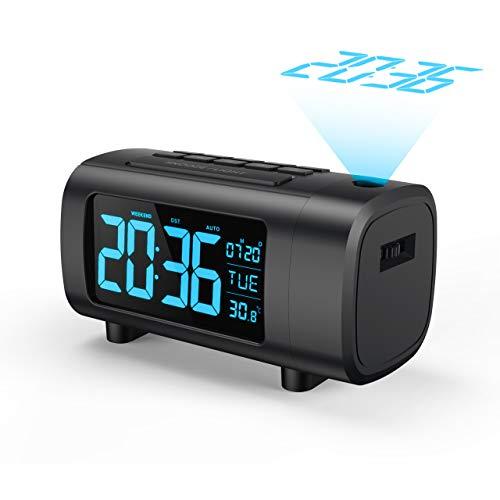 Mpow FM Radiosveglia con Proiezione, Sveglia con Proiettore, Sveglia Digitale, Sveglia Digitale da Comodino, Cifre Blu/Bianche con Dimmer, Snooze, Temperatura, Data, Ora Legale, Porta USB (Blu)