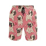 Funny Pugs Puppies Pink Men Beach Shorts Pants Swim Underwear Swim Trunks Summer Holiday Sports Running Surf Board Shorts