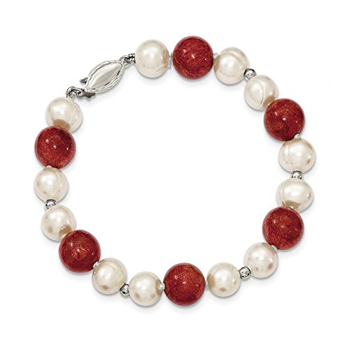 Diamond2Deal da donna in argento Sterling 925con perle e stabilizzato rosso corallo braccialetto 19,1cm