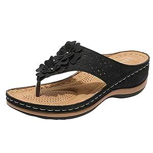 YWLINK Sandalias De CuñA para Mujer Ahuecar Flores Chanclas De Playa Bohemia Verano Sandalias Planas De Gran TamañO Zapatillas Antideslizantes(Negro,43EU)