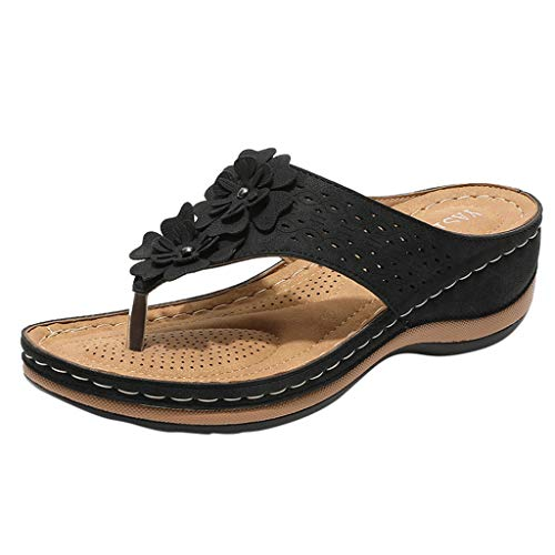 FORUU 2020 New Women Flat Shoes Bead Bohemia Lady Slippe Sandals Peep-Toe Outdoor Shoes Slipper Women's Fashion Casual Floral Flip Flops Sandals Wedges Shoes Outdoor Slippers Wife Lover Gift