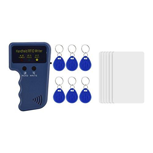 Garsent 125 kHz RFID ID Kopierer, Handheld ID Card Reader Writer Duplikator + 6 Stücke Keyfobs + 6 Stücke Schlüsselkarten