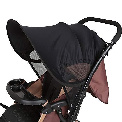 LEMESO Parasol Carrito Bebe Infantil Parasol para Silla de Paseo Sombrilla Carrito Bebe Universal Negro Protector Solar
