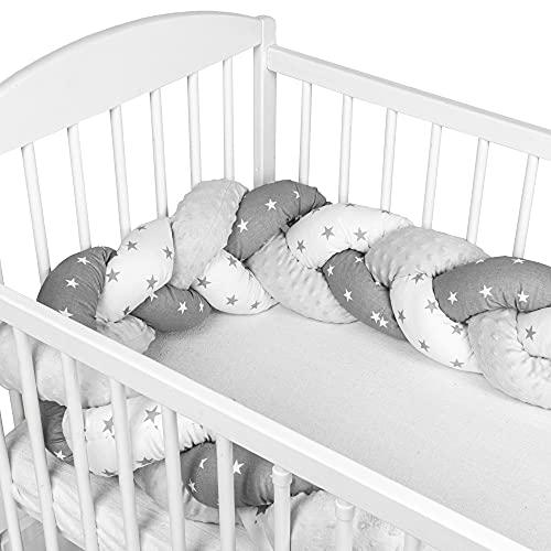 Protector Cuna Chichonera 150 cm - Cama Bebé Trenzado Parachoques Cojín Protectores Para Cunas y Camas de Bebé Gris Blanco con Estrellas