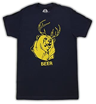 Beer Bear+Deer Mac Navy Adult T-Shirt Tee  XXX-Large
