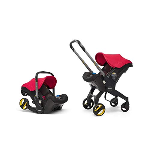 Doona ISOFIX Base Soft and Comfortable Stroller Foam Car Seat and Pram with 5-Point Safety Harness, Double Walls, Adjustable Handle Bar - Flame Red